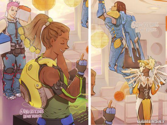 玩家绘制《守望先锋》派对场景 大厨都是男同志